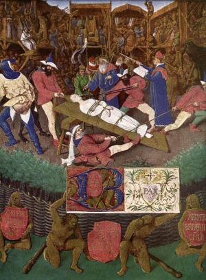 ジャン・フーケ『聖アポロニアの殉教』(1445頃)